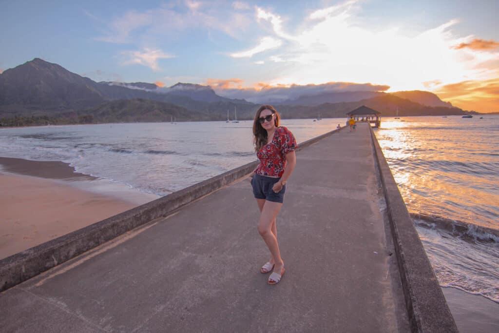 girl on hanalei pier kauai