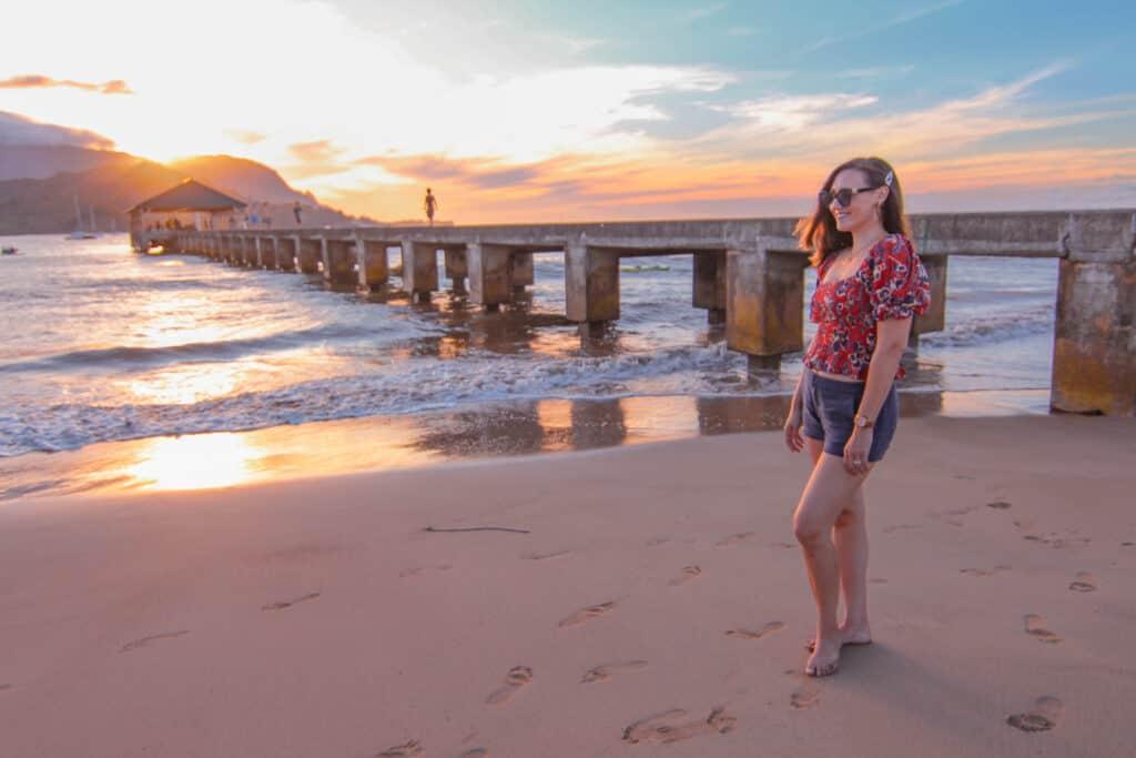 sunset at hanalei pier kauai