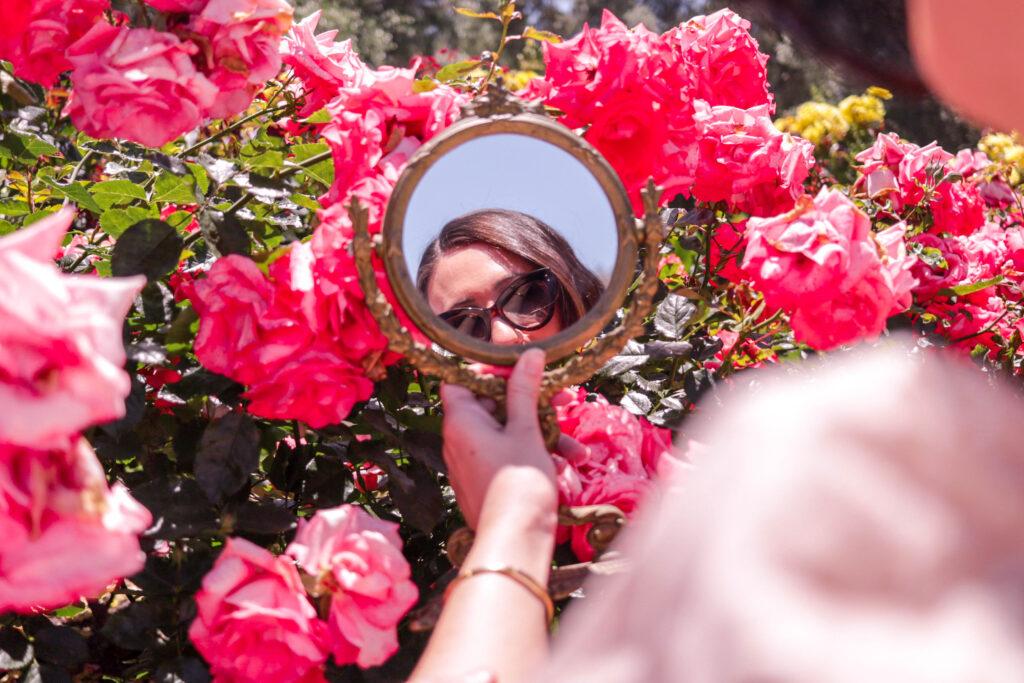 girl in balboa park rose garden