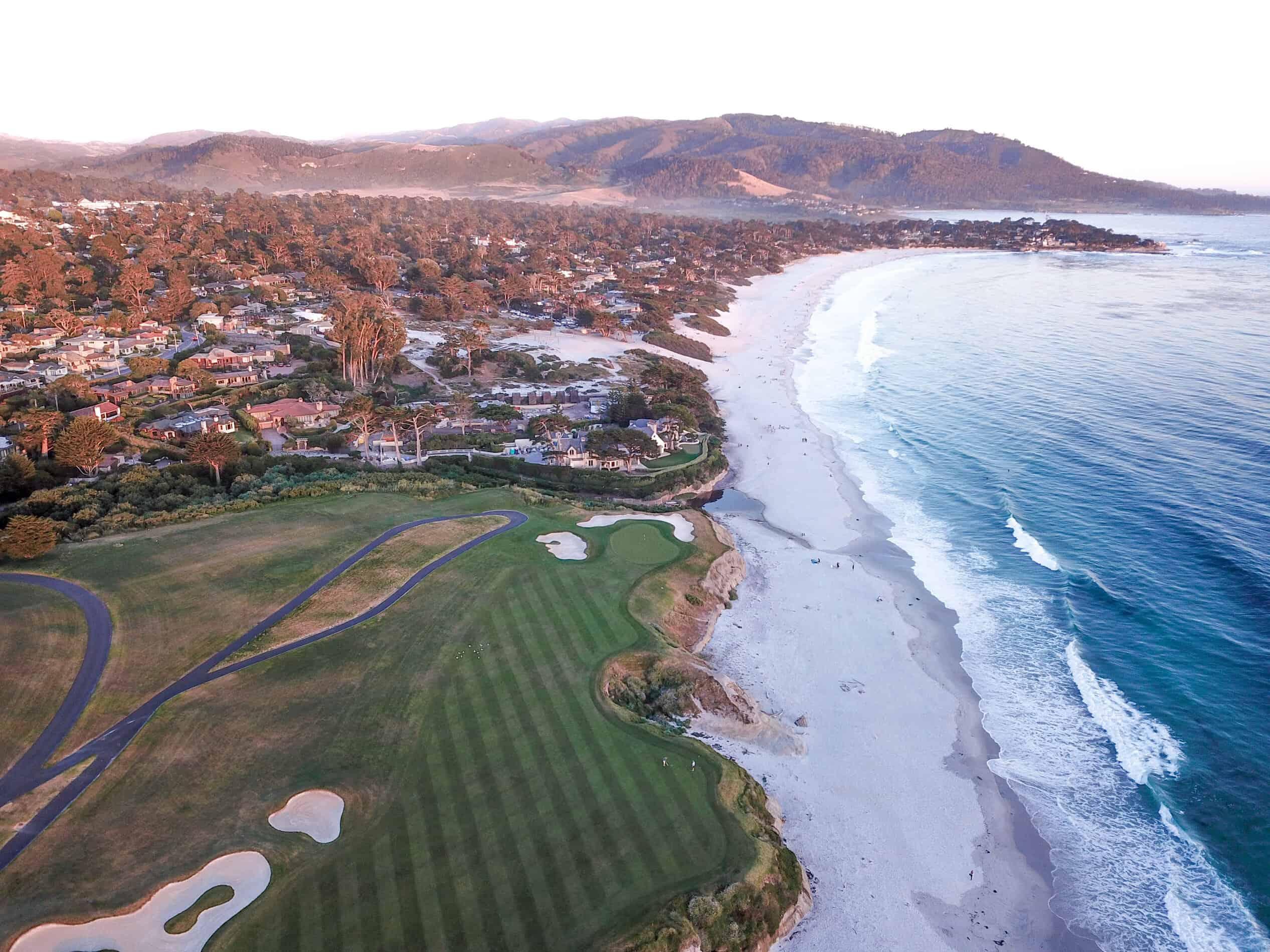 pebble beach golf course drone