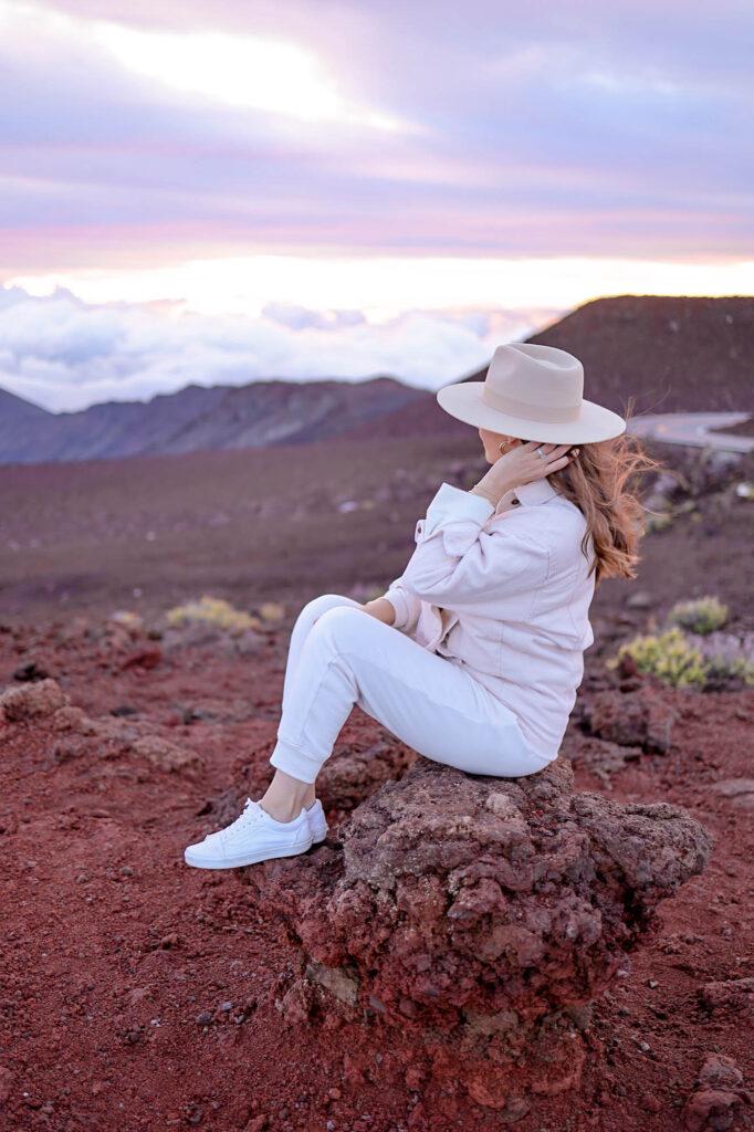 girl in haleakala national park maui