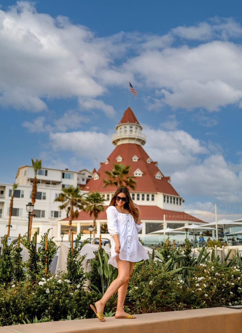 girl in front of coronado island