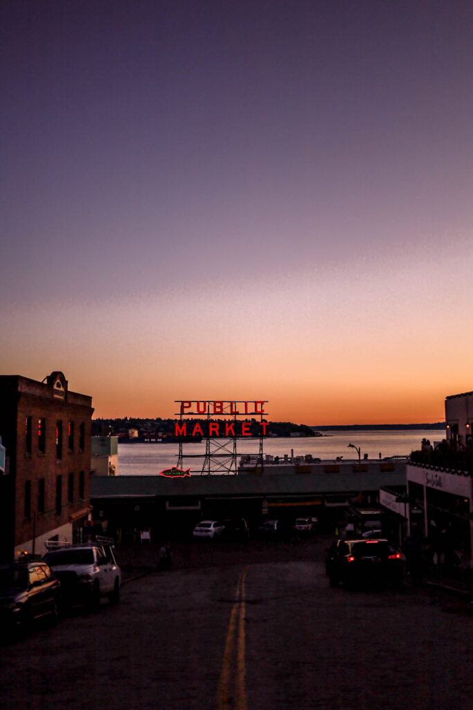 sunset at pike place public market seattle