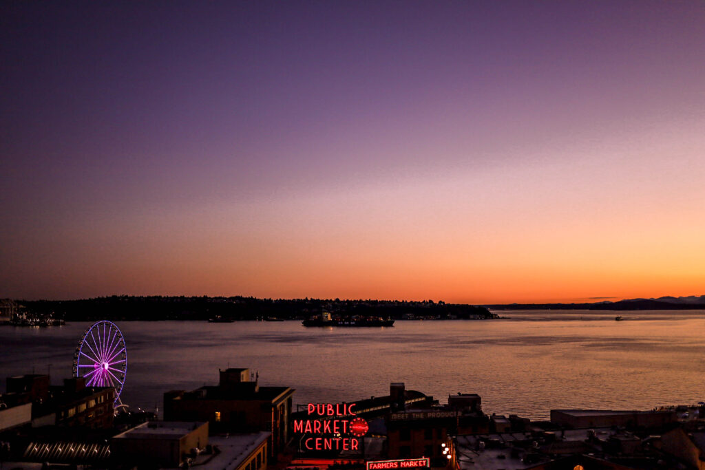 sunset atop the state hotel in seattle