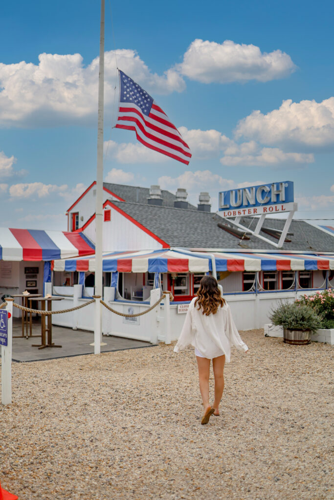 girl in front of the lobster roll in amagansett