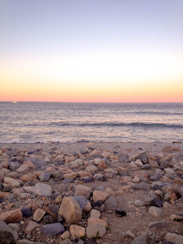 montauk state park beach at sunset