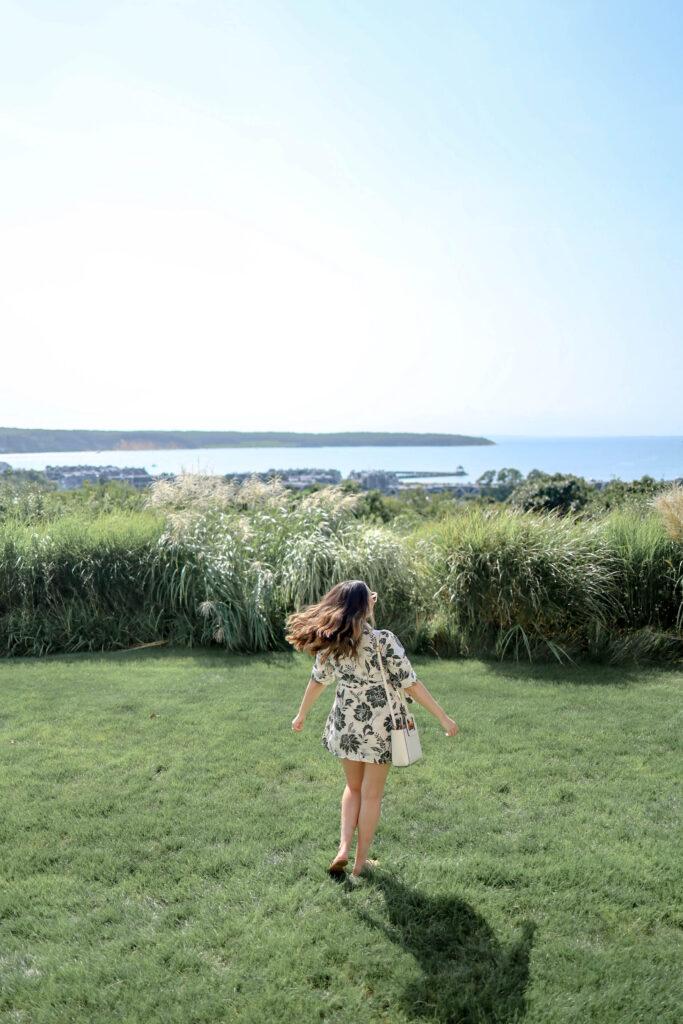 girl admiring view from montauk manor